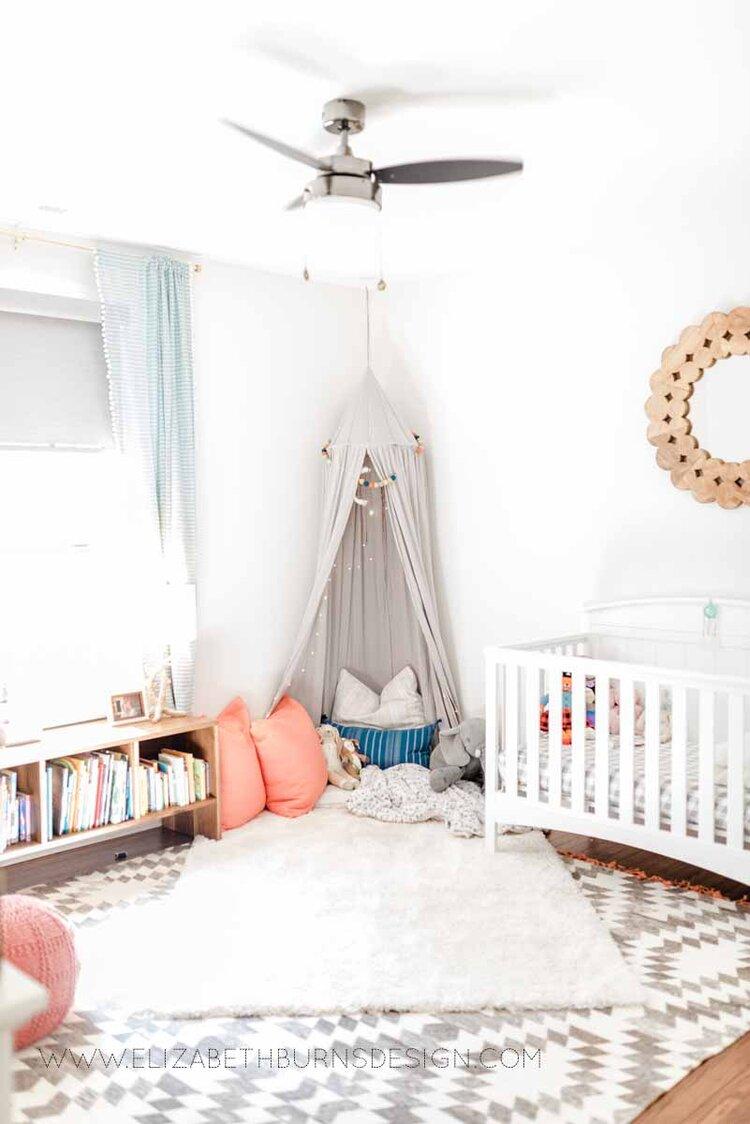 Elizabeth Burns Raleigh Interior Designer Modern Girls Nursery White Walls Eclectic Bungalow Old House Pine Floors (2).jpg