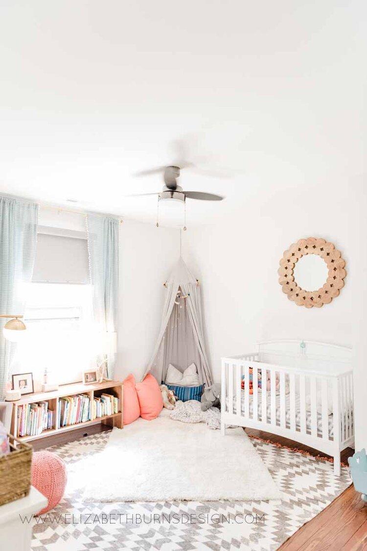 Elizabeth Burns Raleigh Interior Designer Modern Girls Nursery White Walls Eclectic Bungalow Old House Pine Floors (4).jpg