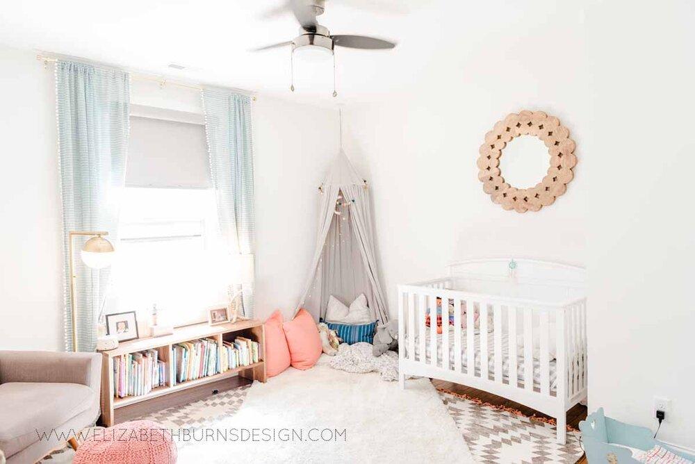 Elizabeth Burns Raleigh Interior Designer Modern Girls Nursery White Walls Eclectic Bungalow Old House Pine Floors (6).jpg