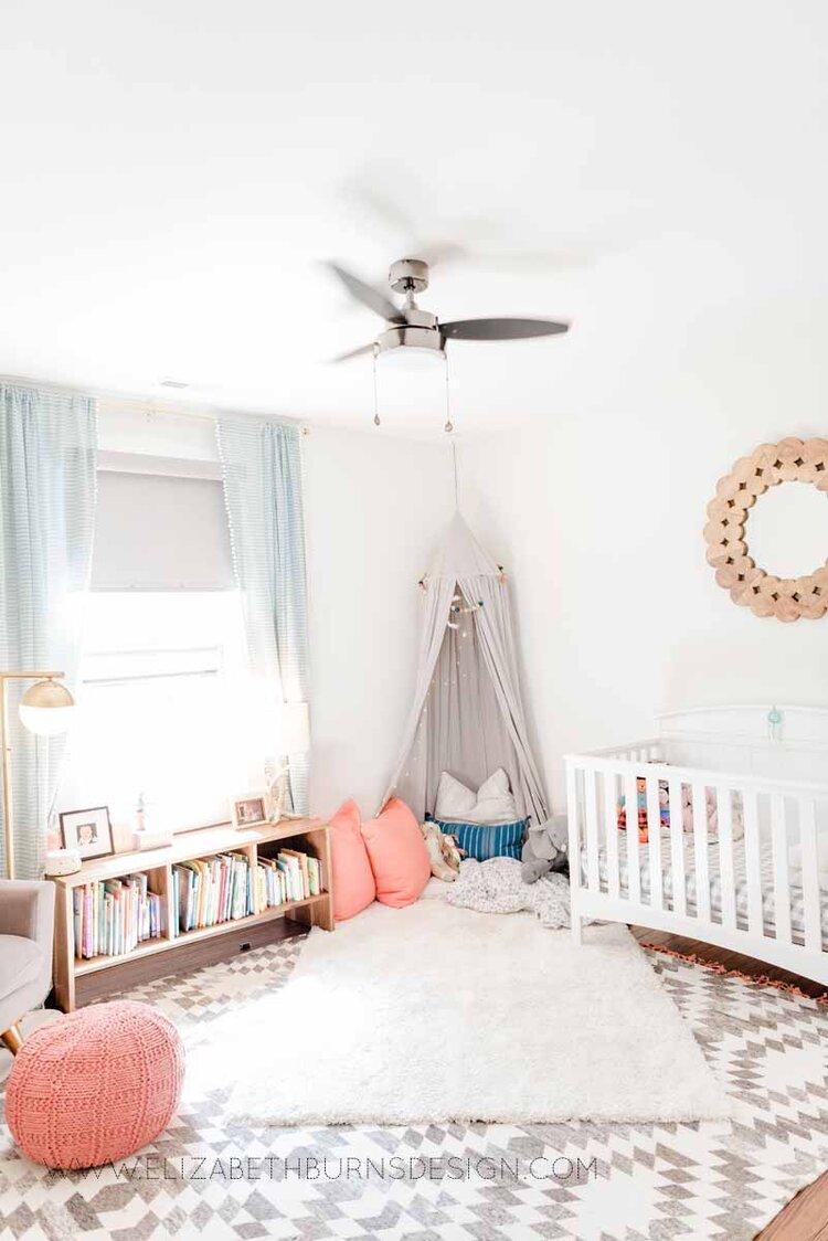 Elizabeth Burns Raleigh Interior Designer Modern Girls Nursery White Walls Eclectic Bungalow Old House Pine Floors (7).jpg