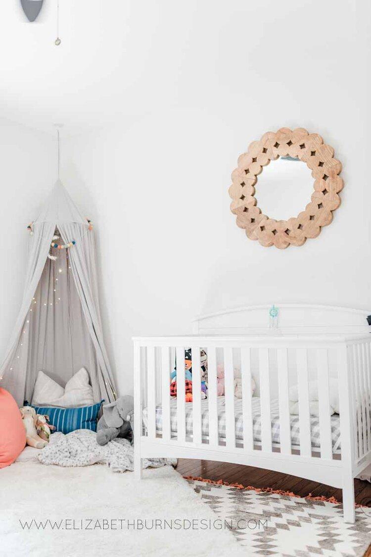 Elizabeth Burns Raleigh Interior Designer Modern Girls Nursery White Walls Eclectic Bungalow Old House Pine Floors (37).jpg