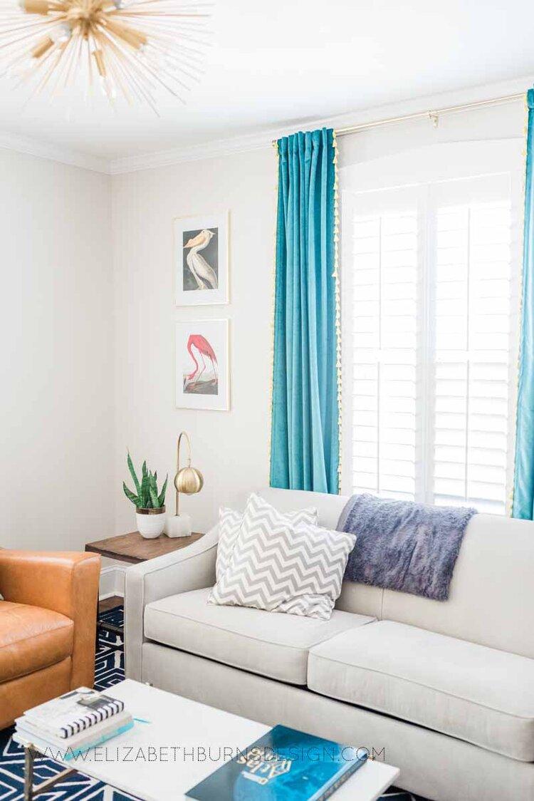 Elizabeth Burns Raleigh Interior Designer Modern Living Room Sputnik Chandelier Built-in Shelves Old House Pine Floors (2).jpg