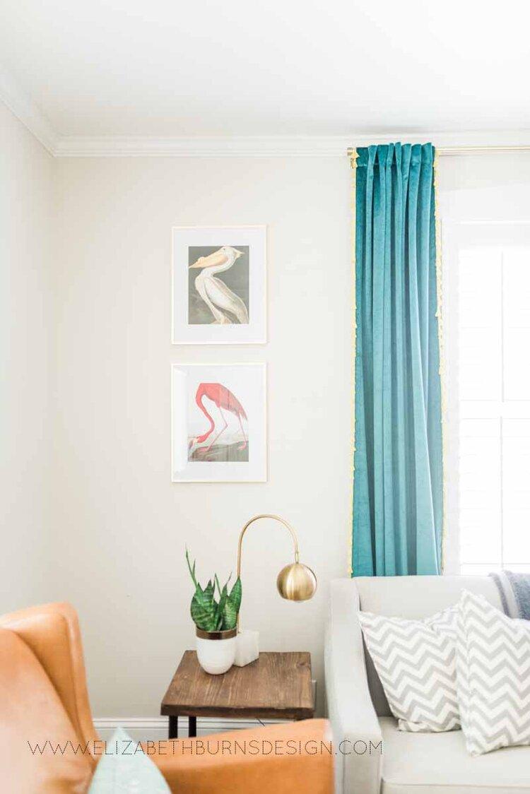Elizabeth Burns Raleigh Interior Designer Modern Living Room Sputnik Chandelier Built-in Shelves Old House Pine Floors (9).jpg