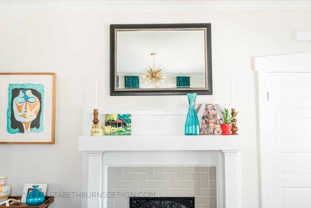 Elizabeth Burns Raleigh Interior Designer Modern Living Room Sputnik Chandelier Built-in Shelves Old House Pine Floors (17).jpg