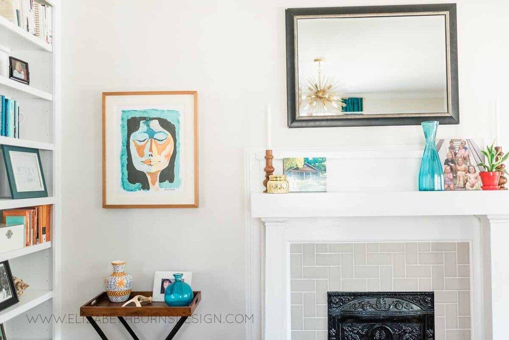 Elizabeth Burns Raleigh Interior Designer Modern Living Room Sputnik Chandelier Built-in Shelves Old House Pine Floors (18).jpg