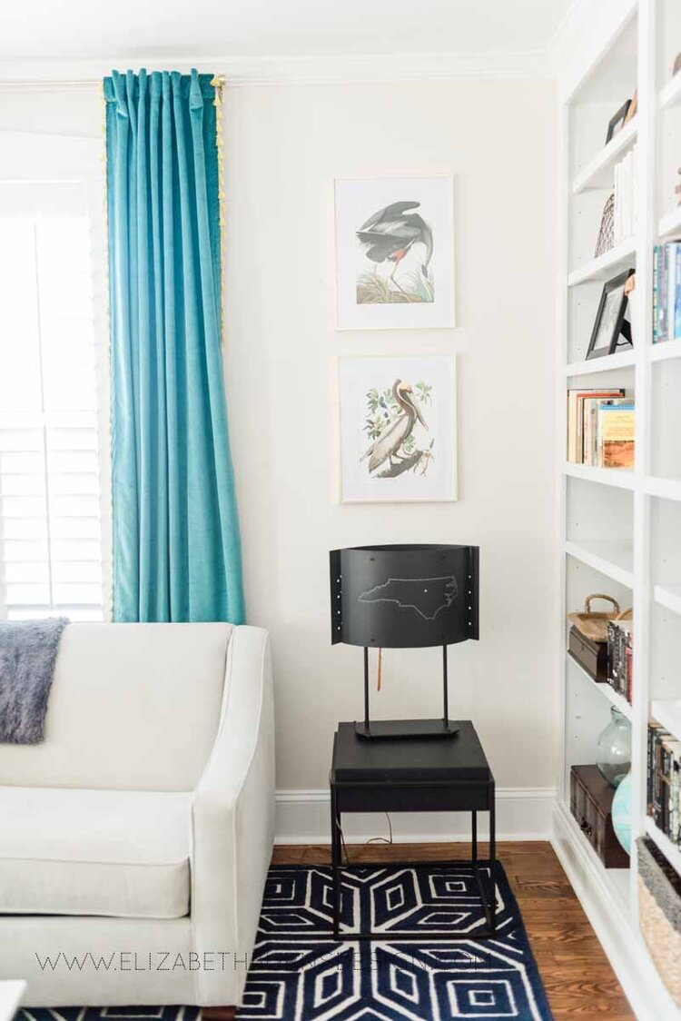 Elizabeth Burns Raleigh Interior Designer Modern Living Room Sputnik Chandelier Built-in Shelves Old House Pine Floors (20).jpg