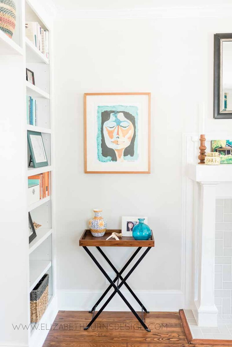 Elizabeth Burns Raleigh Interior Designer Modern Living Room Sputnik Chandelier Built-in Shelves Old House Pine Floors (21).jpg