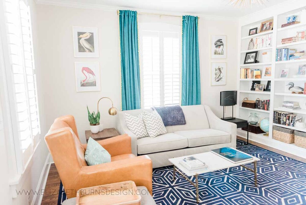 Elizabeth Burns Raleigh Interior Designer Modern Living Room Sputnik Chandelier Built-in Shelves Old House Pine Floors (39).jpg