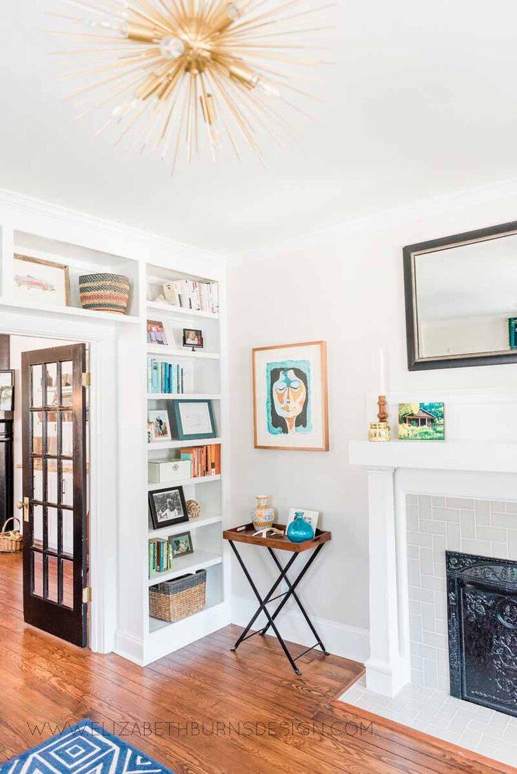 Elizabeth Burns Raleigh Interior Designer Modern Living Room Sputnik Chandelier Built-in Shelves Old House Pine Floors (41).jpg