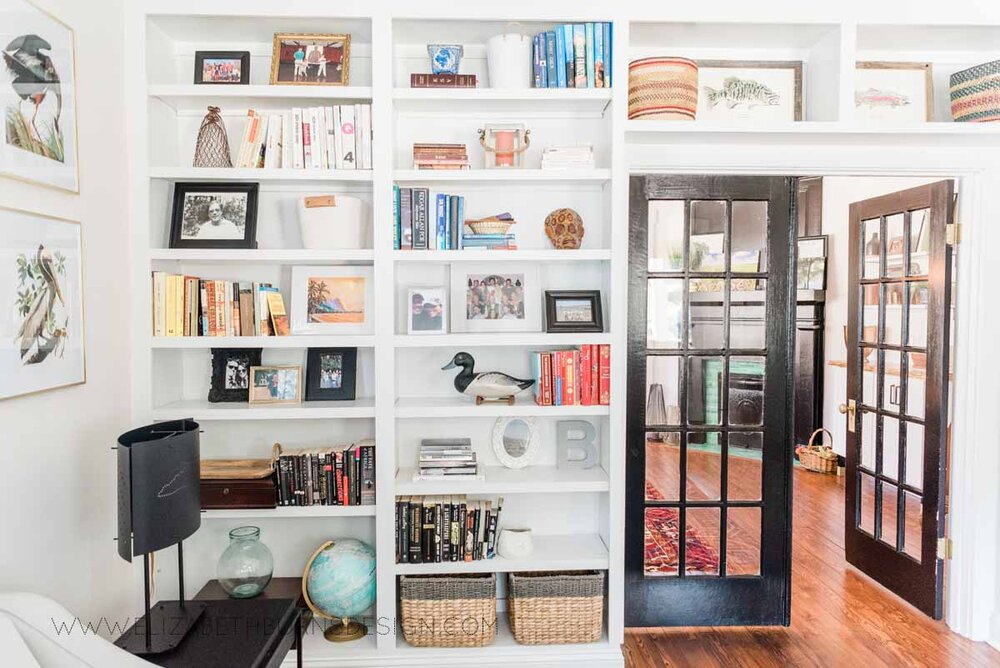 Elizabeth Burns Raleigh Interior Designer Modern Living Room Sputnik Chandelier Built-in Shelves Old House Pine Floors (44).jpg