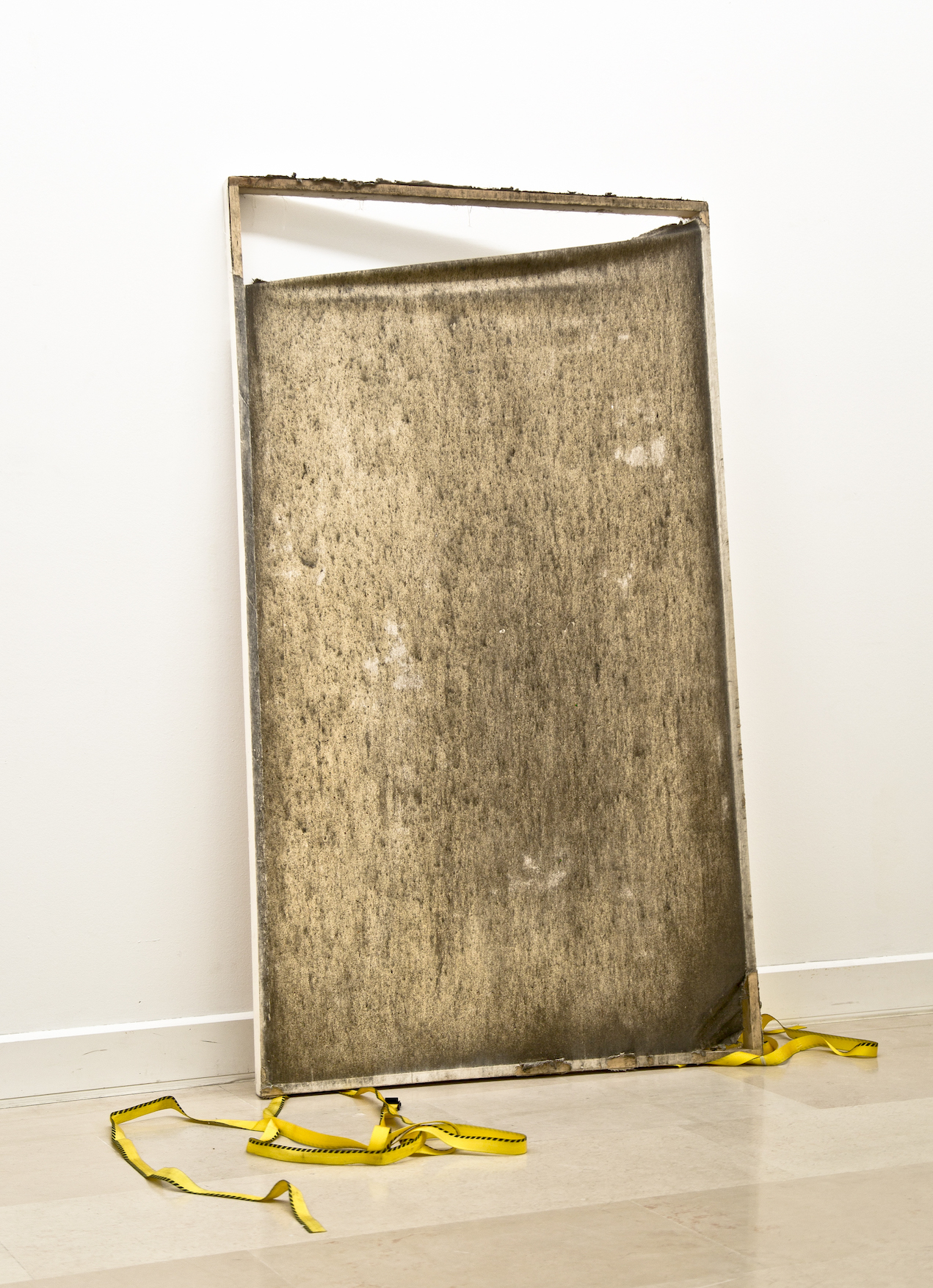 Julia Frank, Body Surface Area, London 2014, primed canvas, street residues and substances, wood, 100 x 170 x 5 cm