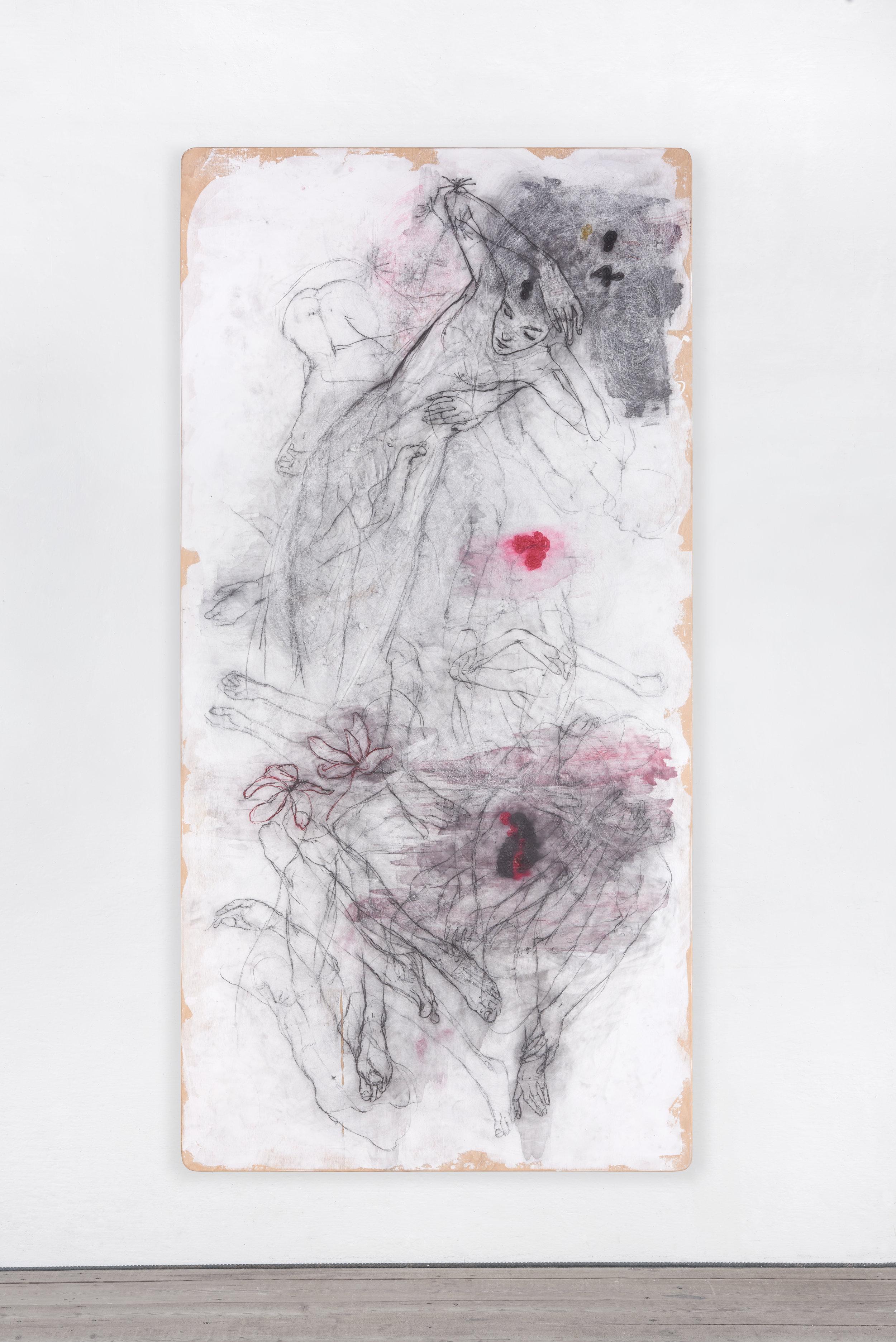 Peter Senoner, Botanicalirious VIII, 2017, graphite, pigment on beechwood, 250 x 125 x 4 cm