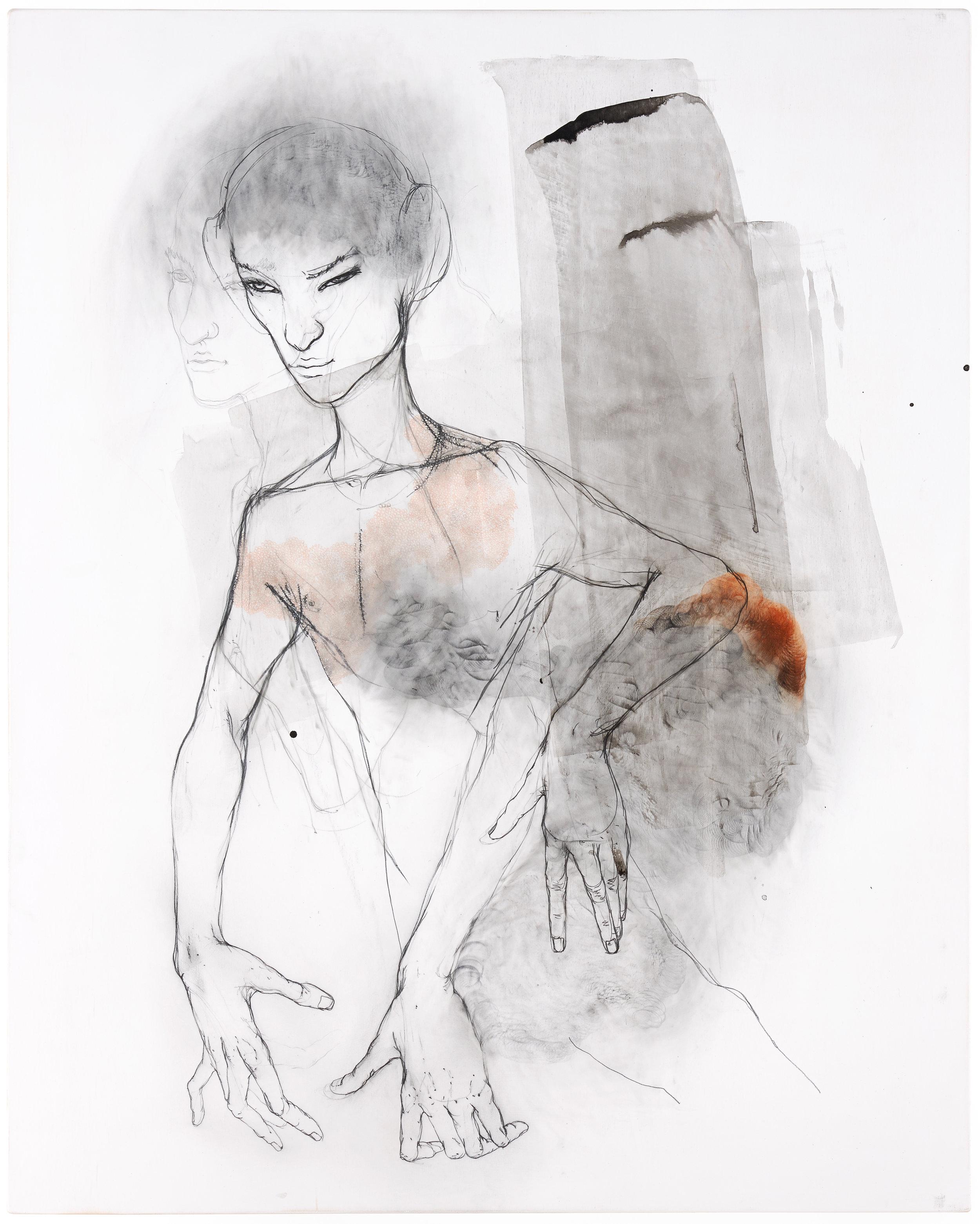 Peter Senoner, Folliastri (Y14N03), 2018, graphite, pigment on beech, 100 x 80 cm