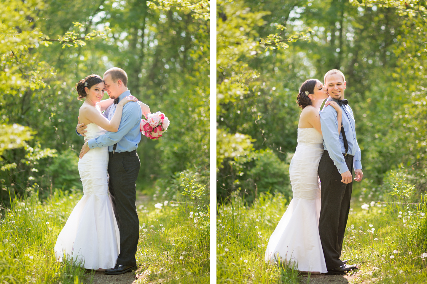 wedding photography in ann arbor park in the spring