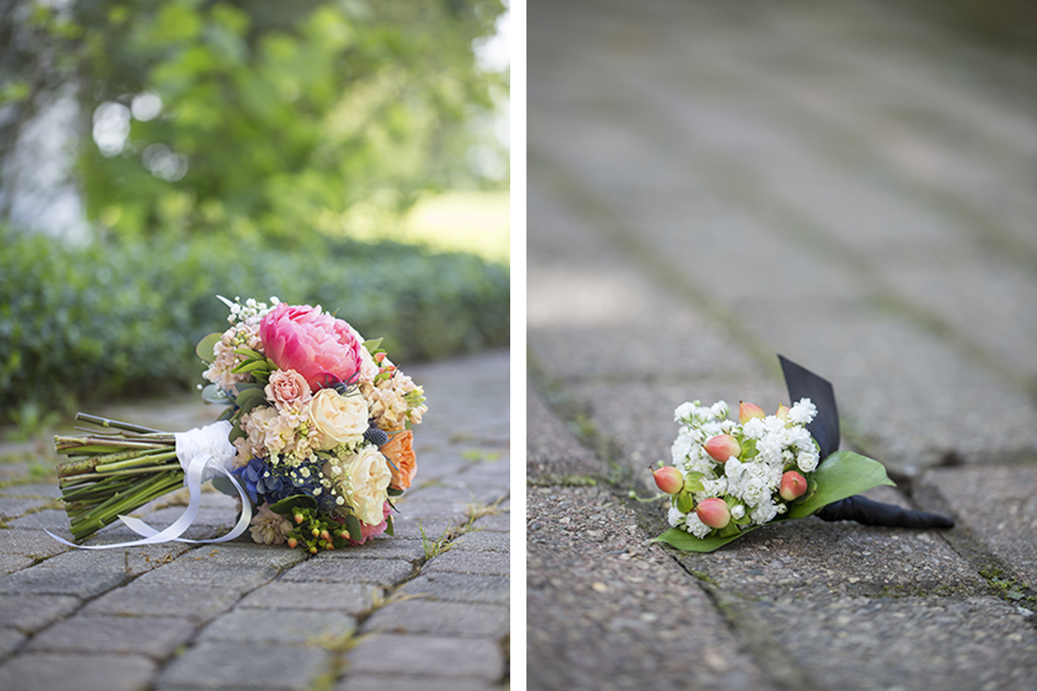 peony wedding bouquet boutonniere photography