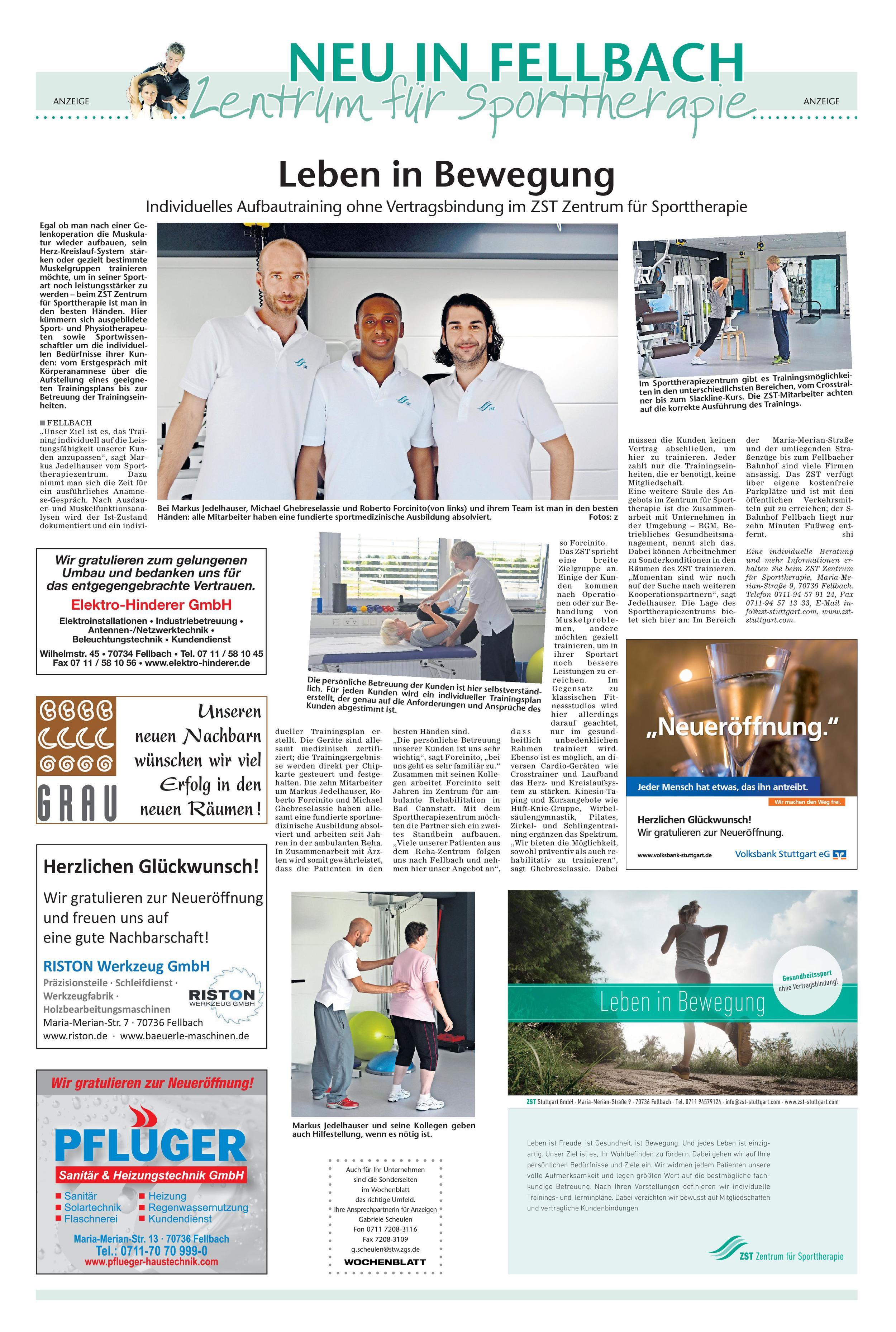 Artikel Fellbacher Wochenblatt 14.08.2014