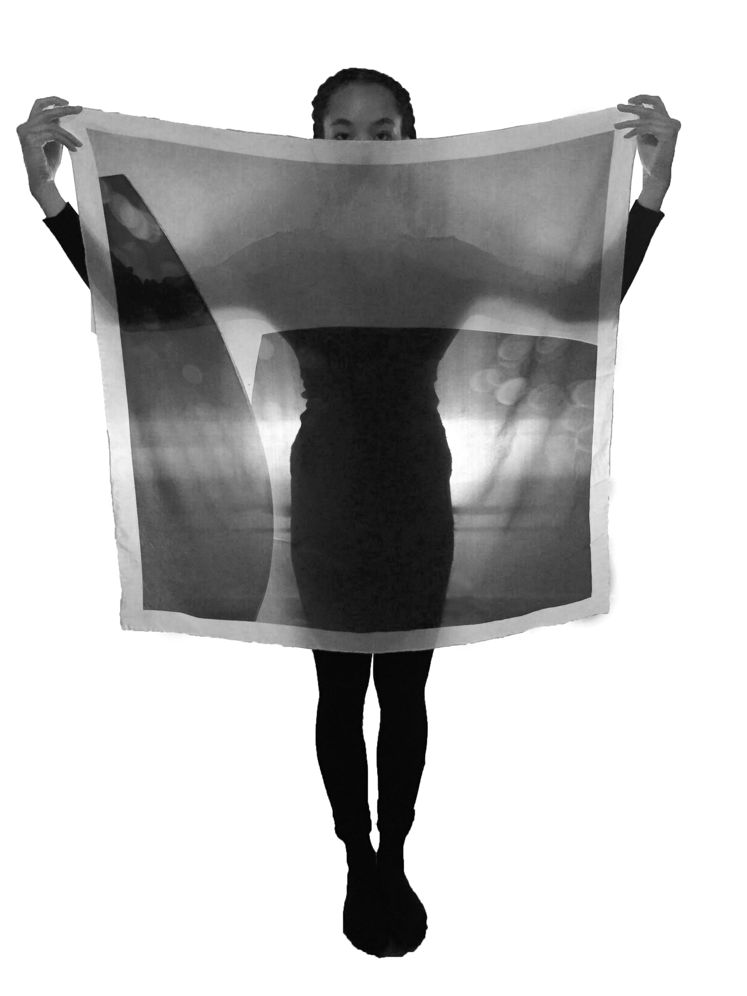 """Polaris, approximately 40""""x40"""", 12 mm crepe de chine and heavily backlit."""