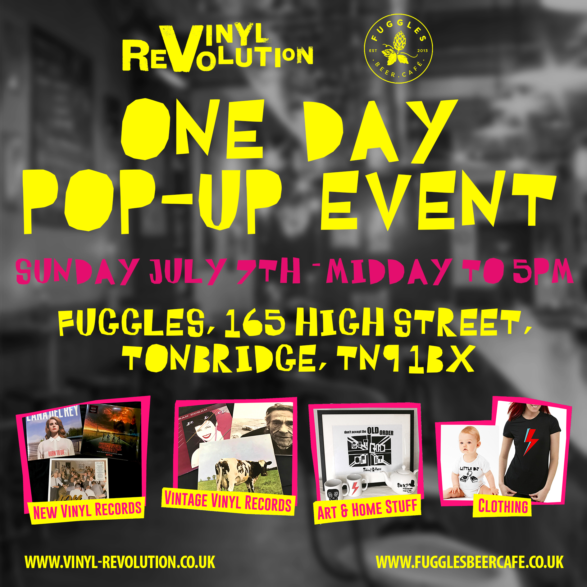 Vinyl Revolution vinyl store pop-up - Fuggles Beer Café Tonbridge, Sunday 7th July, 12-5pmThe guys from Vinyl Revolution are back for their latest pop-up and music takeover. They're bringing a heap of new and vintage LPs with them, including plenty of old and new-school sounds, plus some super-cool merch, and a stash of records from co-founder Simon Parker's personal collection to spin throughout the day. Swing by for a pint and pick up some great new records.
