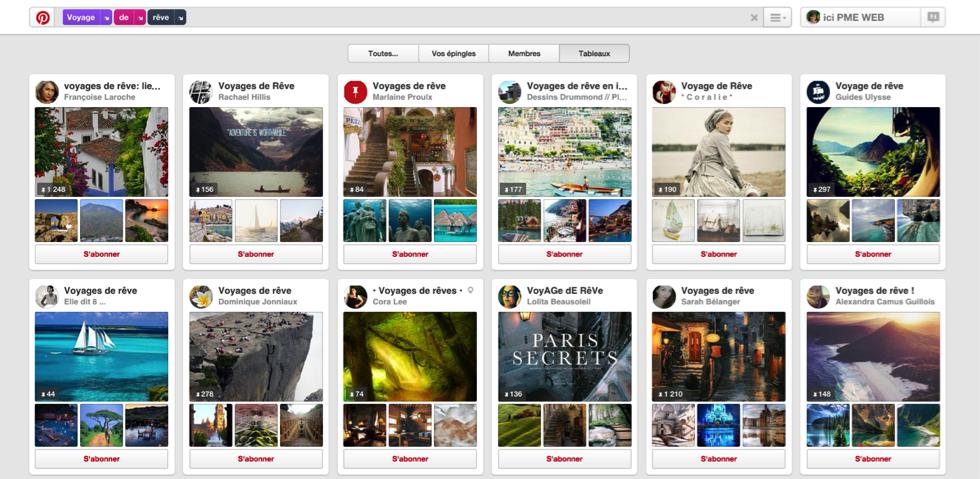 Est-ce que vous utilisez Pinterest pour promouvoir votre entreprise via ici PME WEB