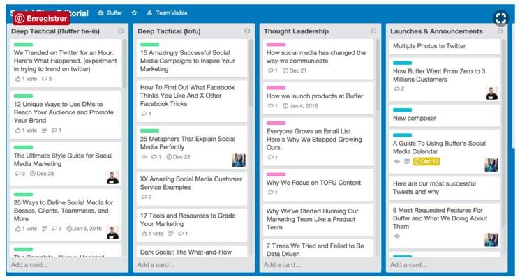 Exemple de calendrier de publication