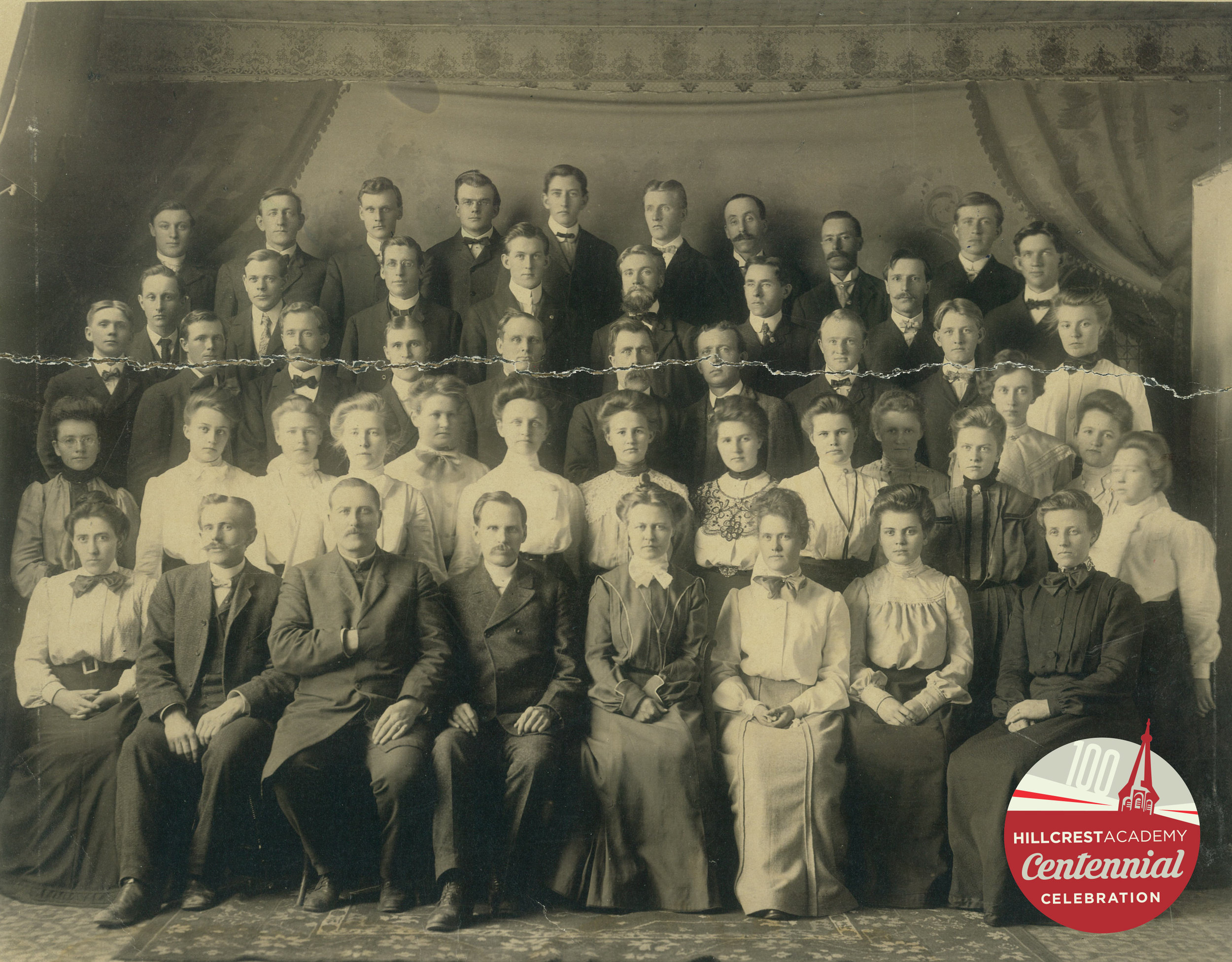 Professor E.M. Broen sits third from the left. Future Chinese missionary, Marie Harstad, stands first from the left in the second row. This is the student body for the Lutheran Brethren Bible School 1903-04