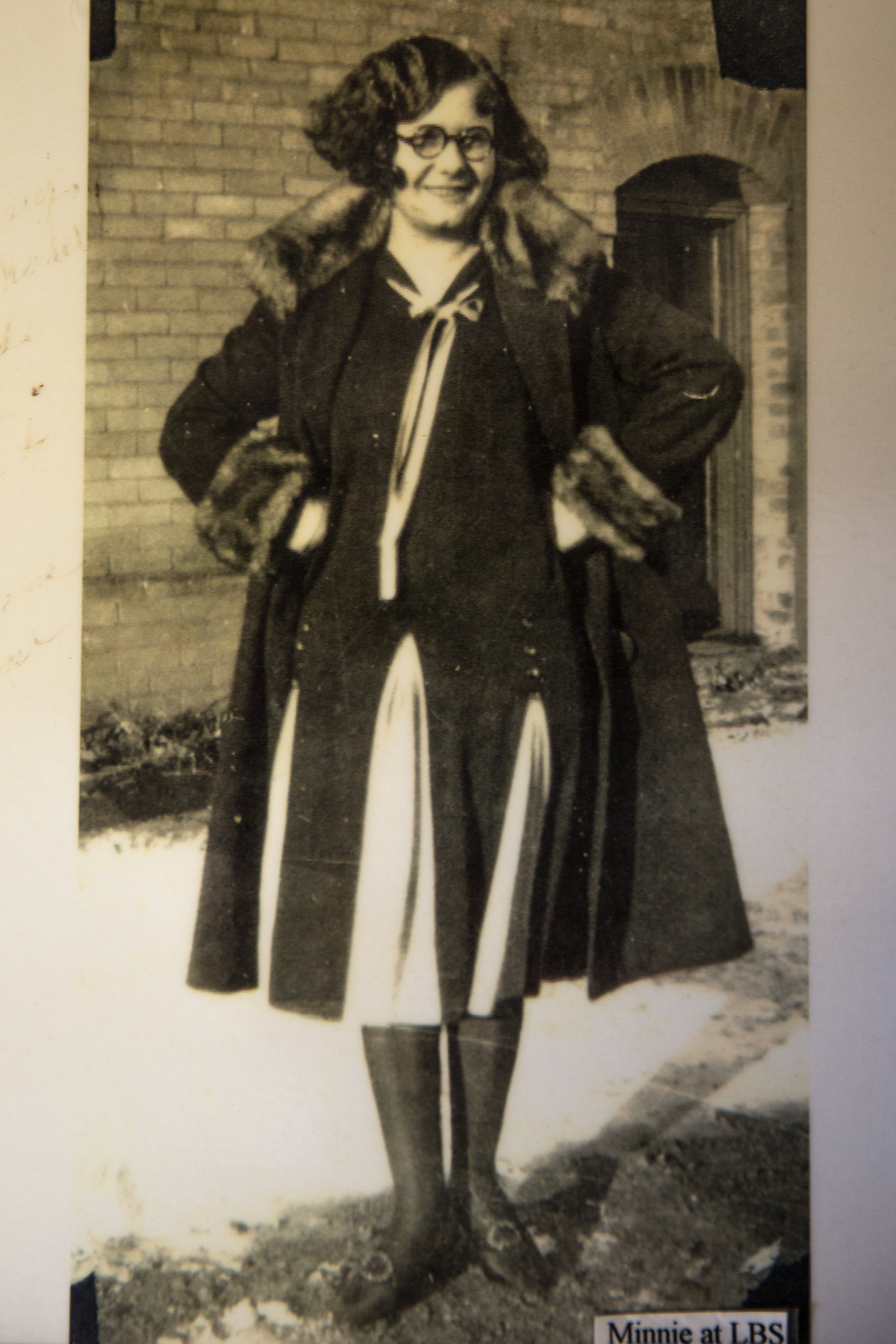 This picture of Minnie outside Hillcrest in Grand Forks hangs beside her bed in her room in Mohall, ND.