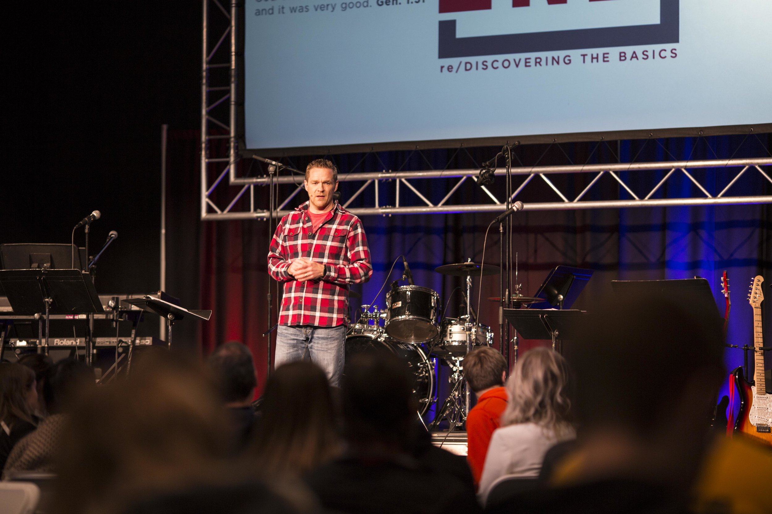Clay Mitchell brings a message during day two of Prayer Day