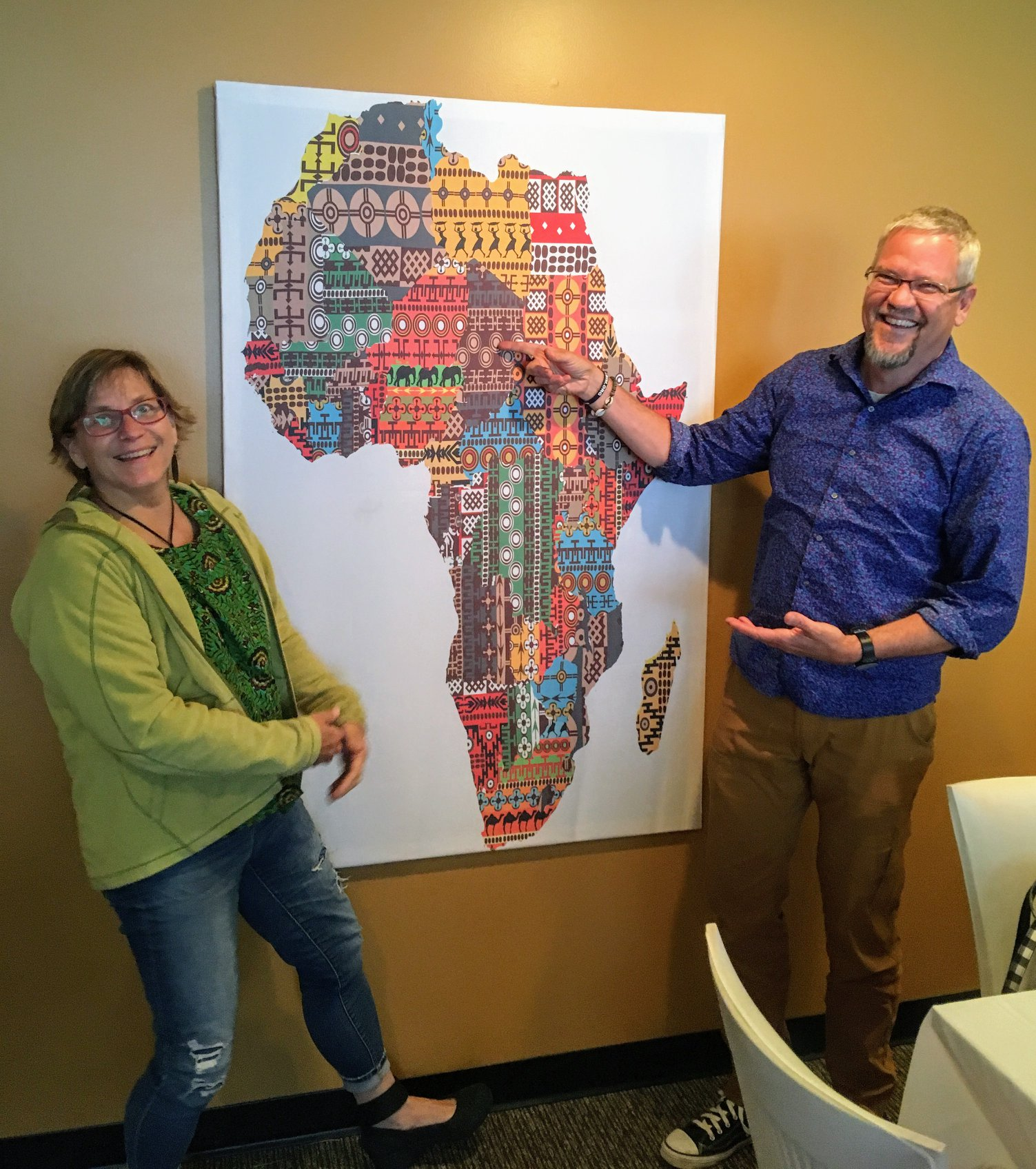 Former Lutheran Brethren Missionaries to Africa, Dan and Rachel Venberg. Dan is pointing to Chad where the couple served.