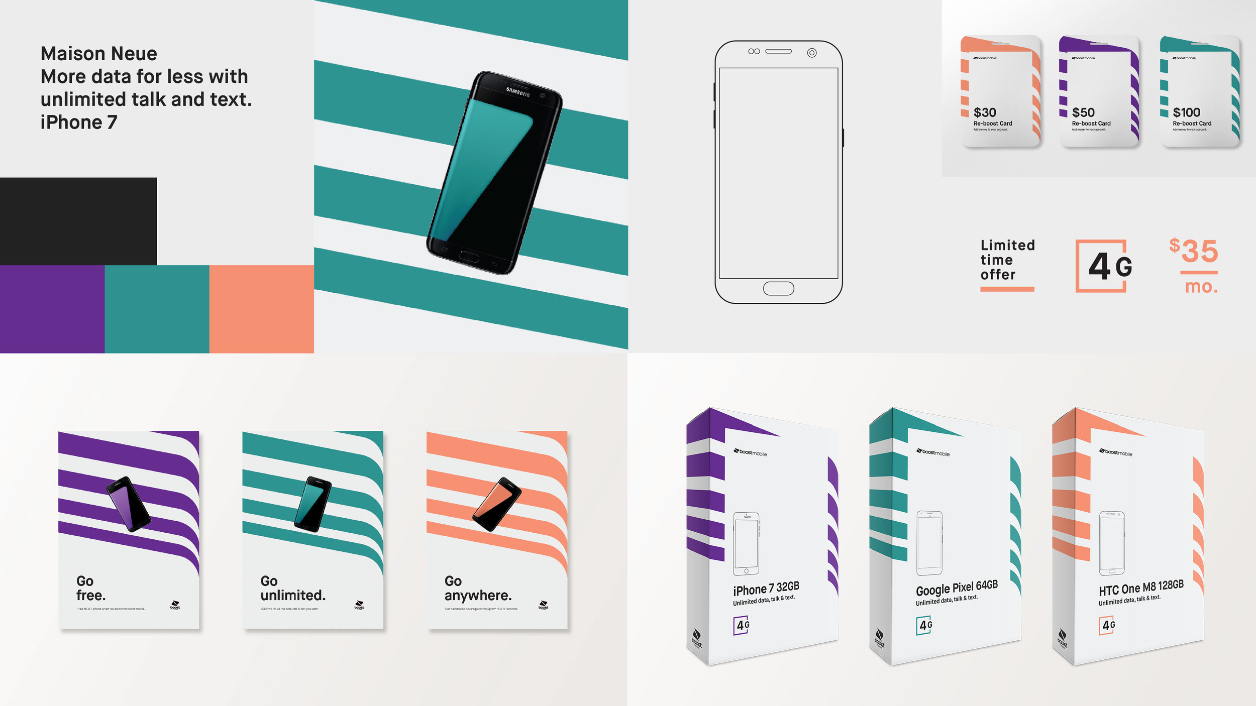 Boost Mobile - I had the chance to work on a Boost Mobile pitch with a super talented creative director and amazing art director. This is what we came up with.