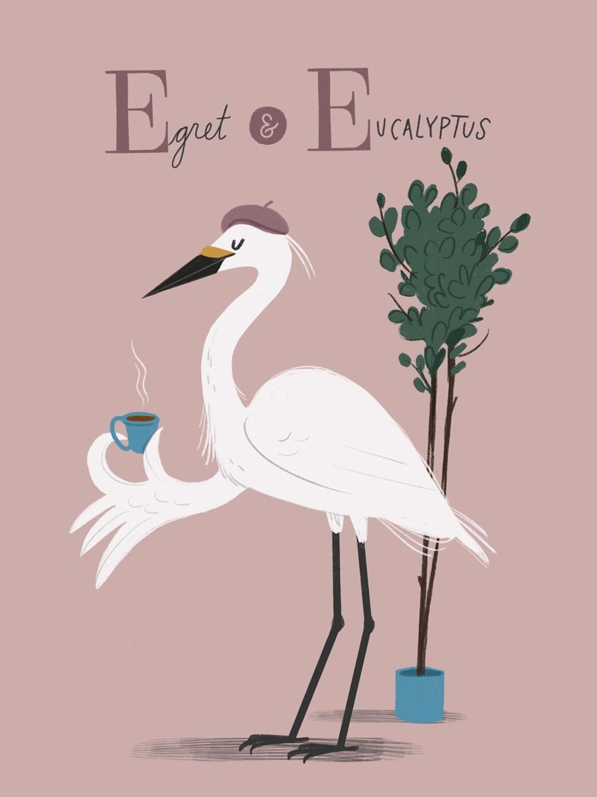 Egret and Eucalyptus