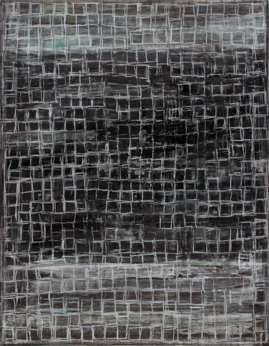 """Net   2010  gouache, pencil, pastel, ink on paper mounted to panel,14"""" x 11"""""""