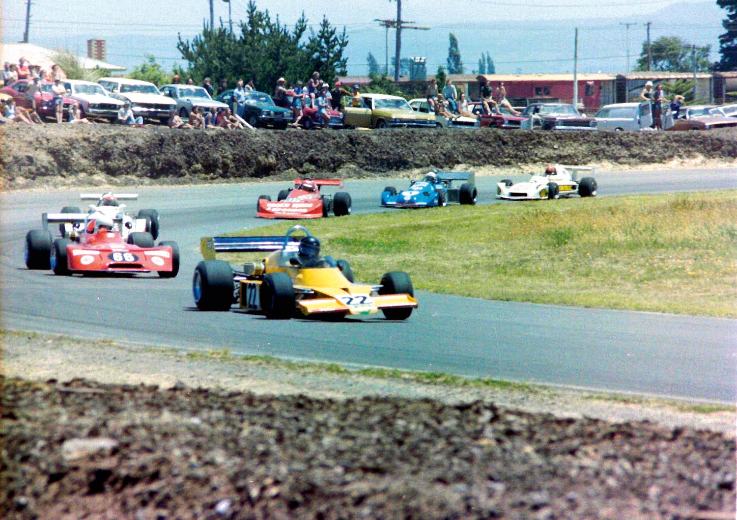 Ross Stone (of Stone Brothers Racing V8 Supercars fame) leads a group of Formula Atlantic cars in the Cuda JR3 he and brother Jim built