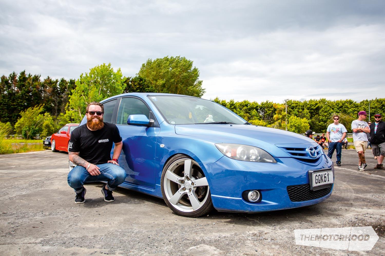 Name: Baby Jesus Car: 2005 Mazda Axela Wheels: 18x8-inch Mazda RX-8 factory alloys