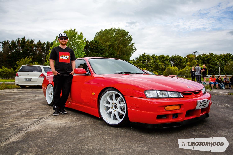 Name: Wayne Thompson Car: SR20DET 1997 Nissan S14 Wheels: 18x9.5-inch Work D9Rs