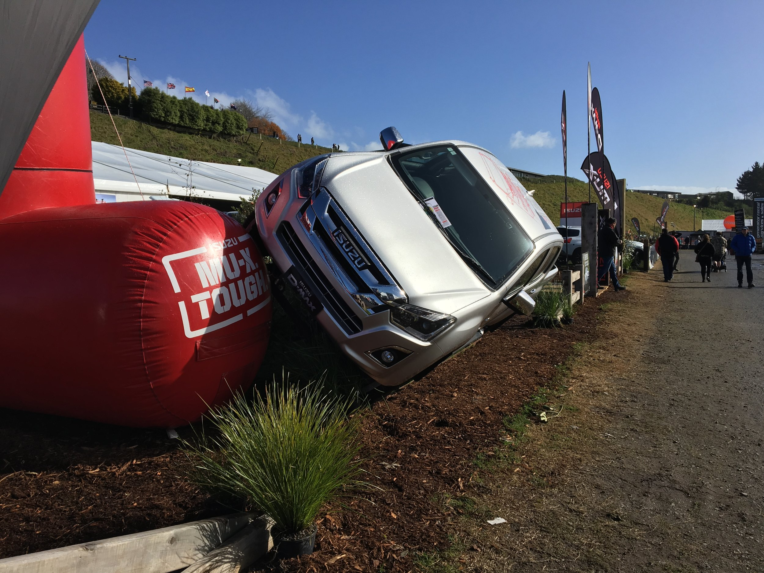 The Isuzu D-Max demonstrating its 49 degree hill-crawling capabilities.
