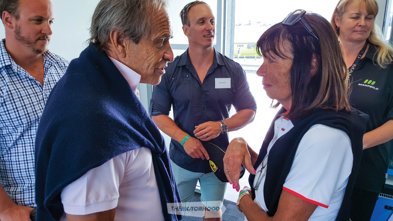 Jacky Ickx meets Tish Amon. In the background are Amon twins Alex and James and Manfeild CEO, Julie Keane