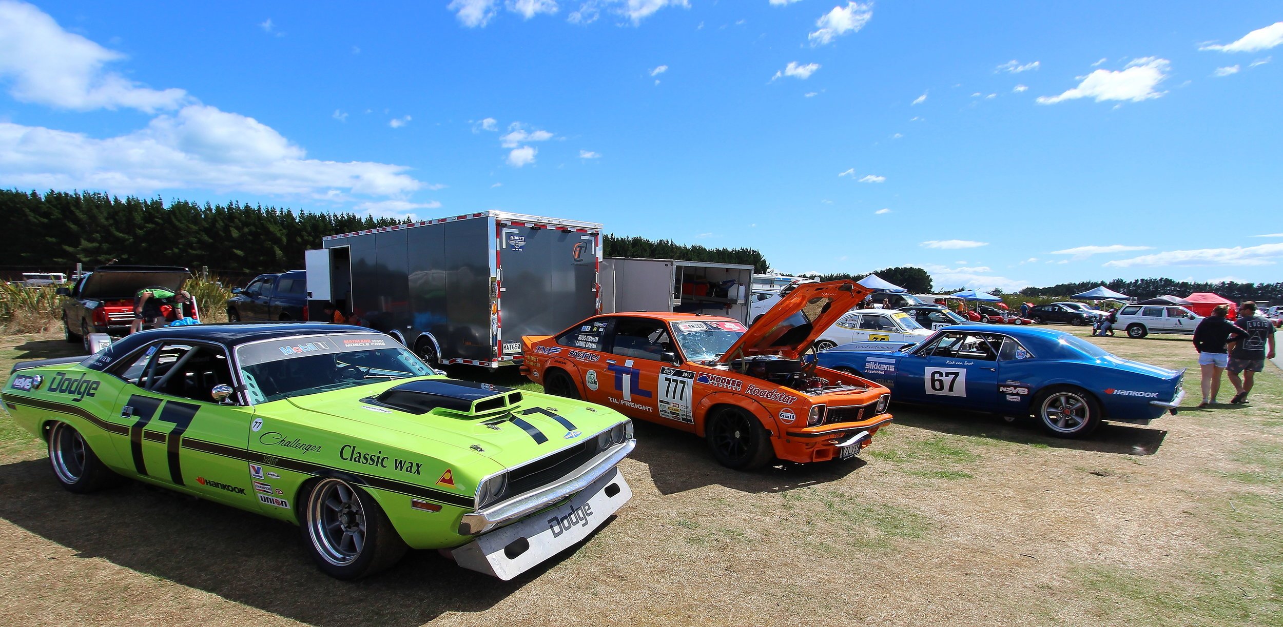 Classic saloons with Duane Ingley's (Queenstown) Dodge Challenger (#77) and Ross Graham's (New Plymouth) Holden Torana (#777) and Rick van Swet's (Auckland) Chevrolet Camaro (#67)