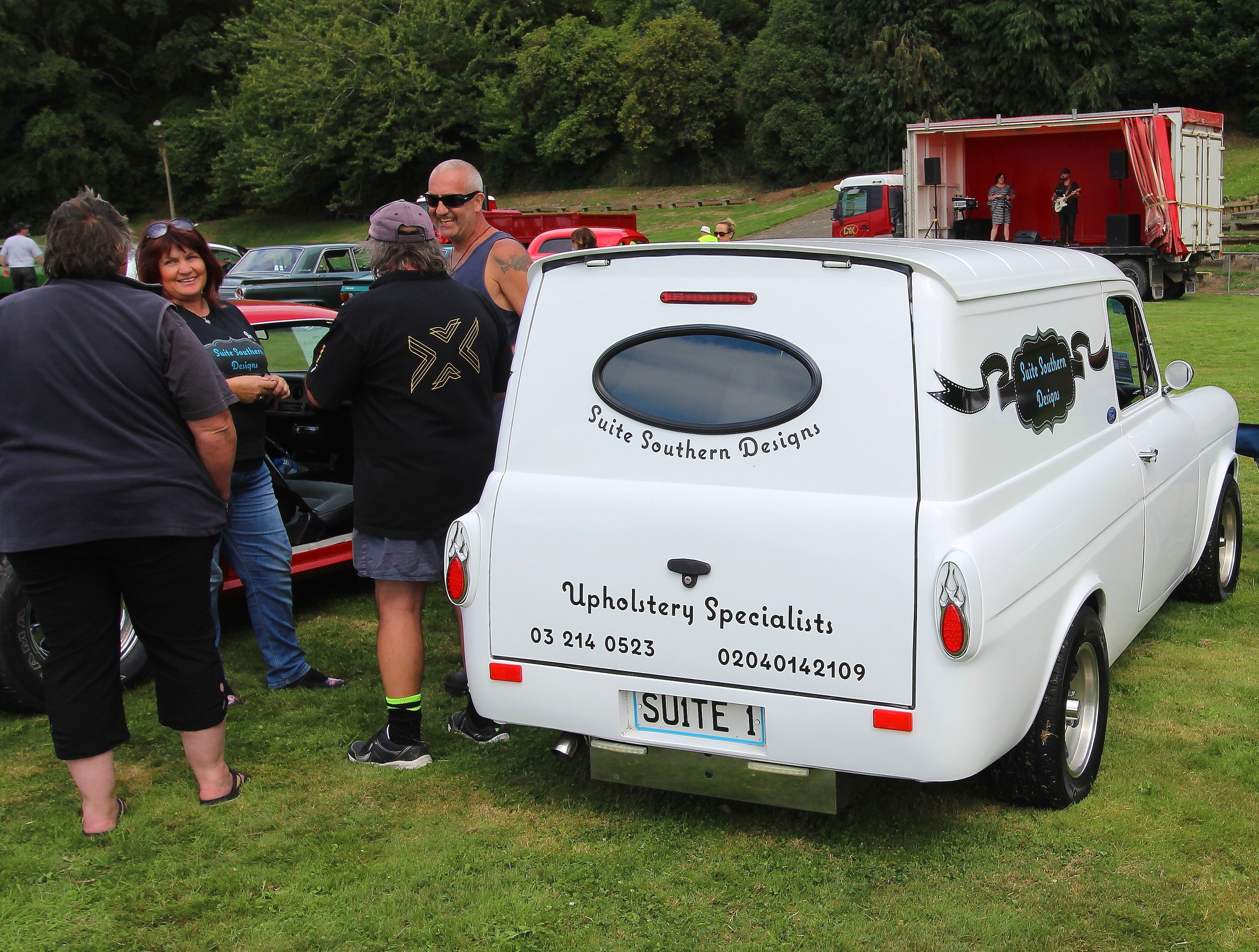 'Suite1'— Brenda Mathers and Scott Flynn's appropriately named Ford Anglia panel van