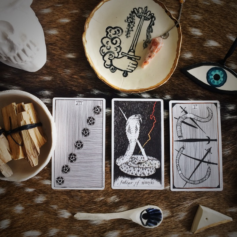 For this reading, I borrowed the  Wild Unknown  Tarot Deck - visual assist from all these excellent Sweet Destructor ceramic pieces!