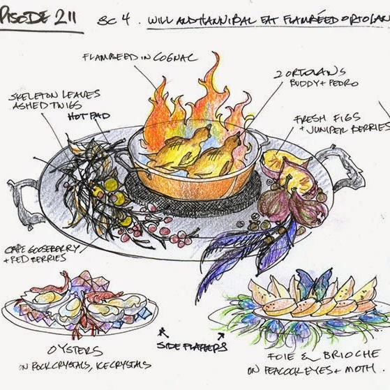 If you have ever watched Hannibal, there is a fine line of beauty and death - especially in food. Janice Poon made that a reality for the TV show. Her sketches are just... to die for. For more information and a peek into her brain (not to eat), check out her blog  http://janicepoonart.blogspot.co.uk/