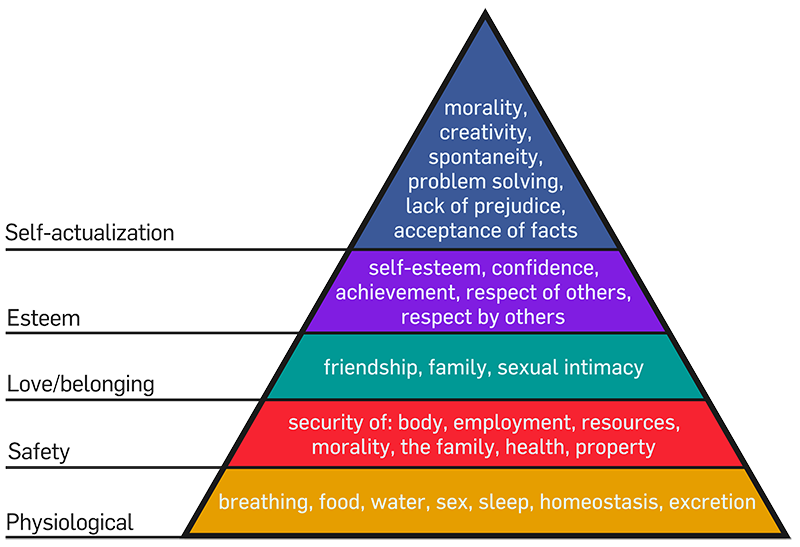 "Maslow's pyramid, widely used for market segmentation, and explaining the various levels of needs of human beings. The upper most need ""Self-Actualization"" is seldom fulfilled, resulting in less than optimally functioning human beings, getting literally sick and depressed."