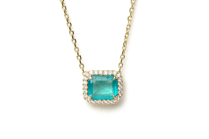 Micropave Diamonds with Emerald Necklace, 18ky Gold