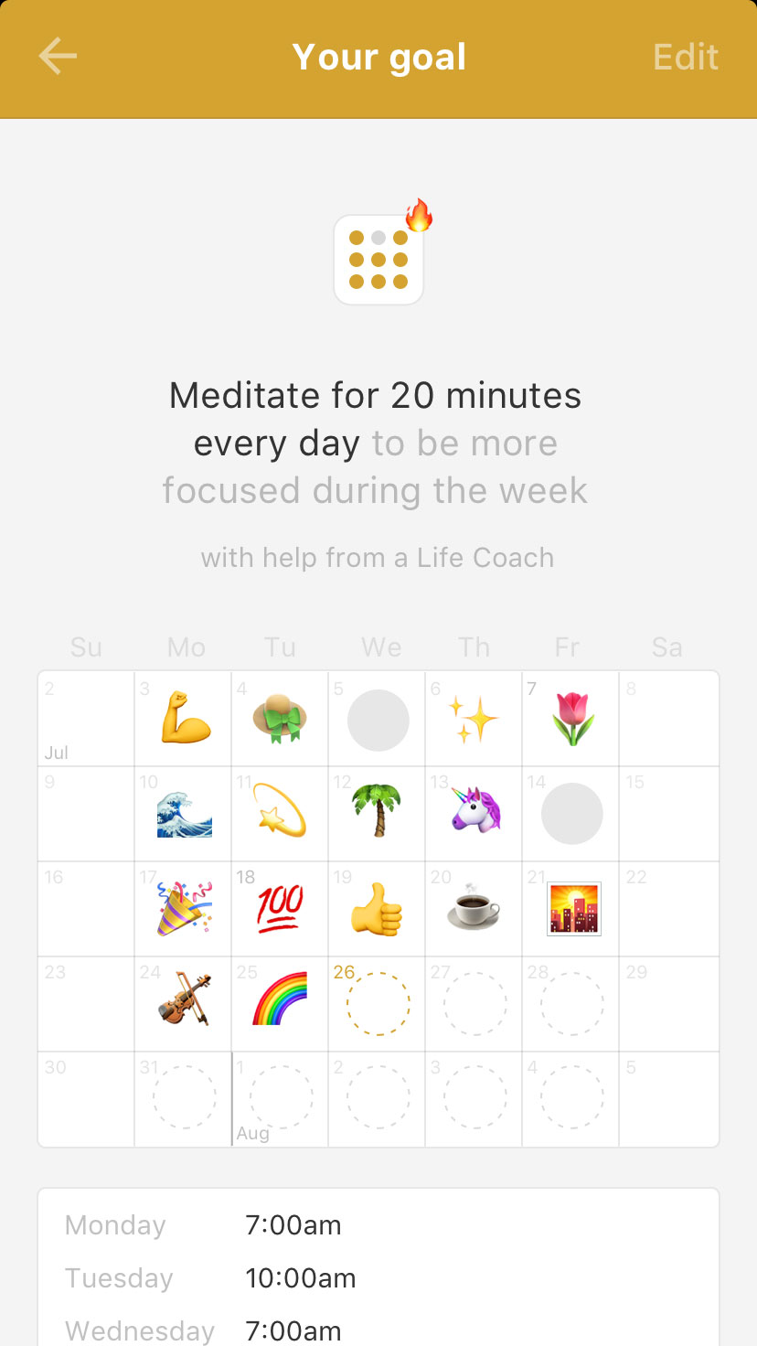 """A single goal page with various collected """"completed"""" stickers."""