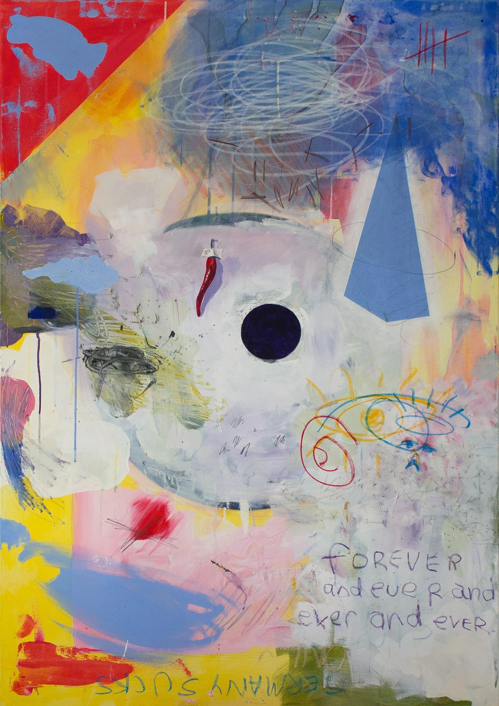 germany sucks  Acrylic, graphite, oil pastel on canvas 100 x 150 cm