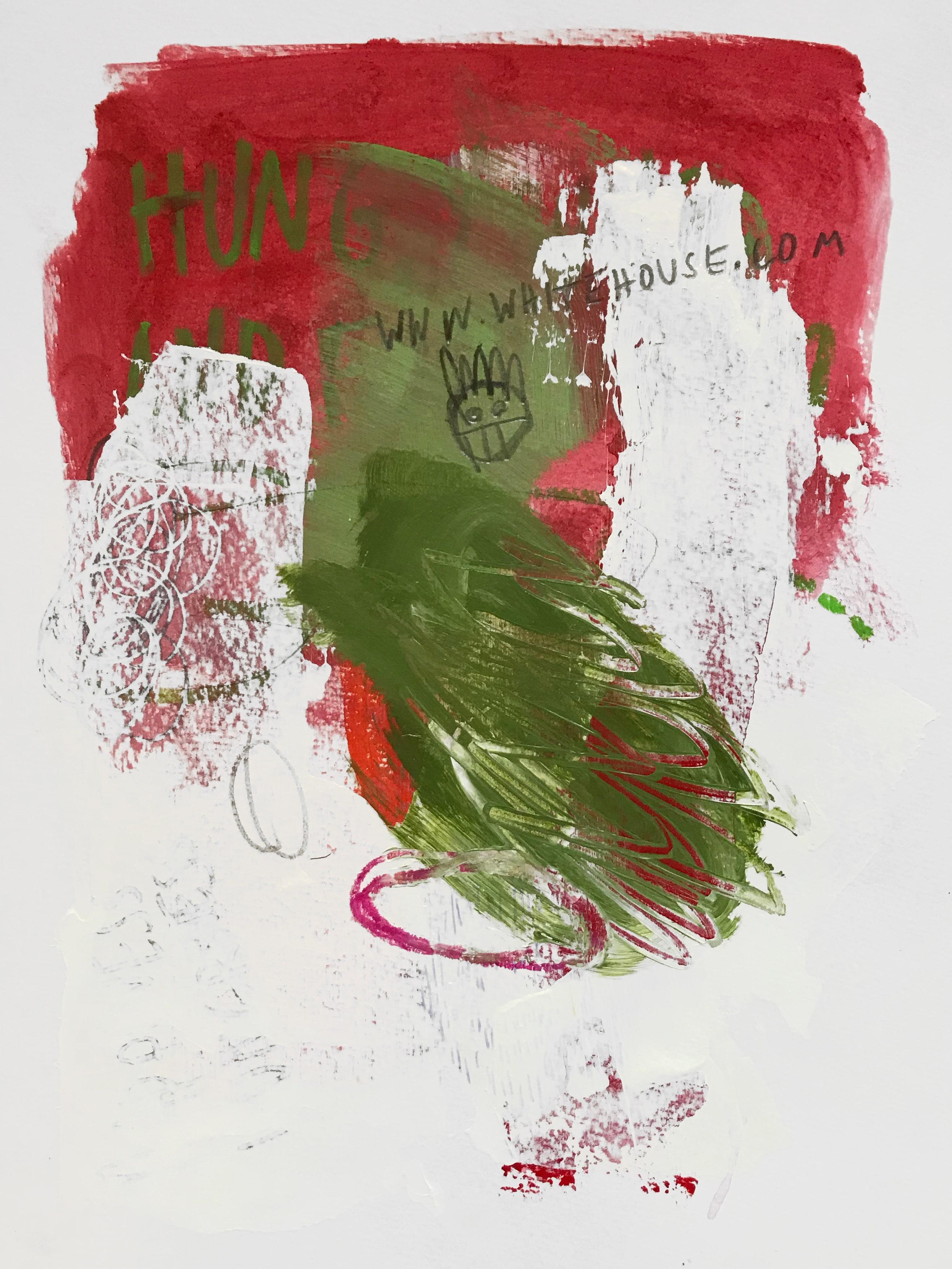 whitehouse.com  Acrylic, graphite, oil pastel on paper 24 x 32 cm