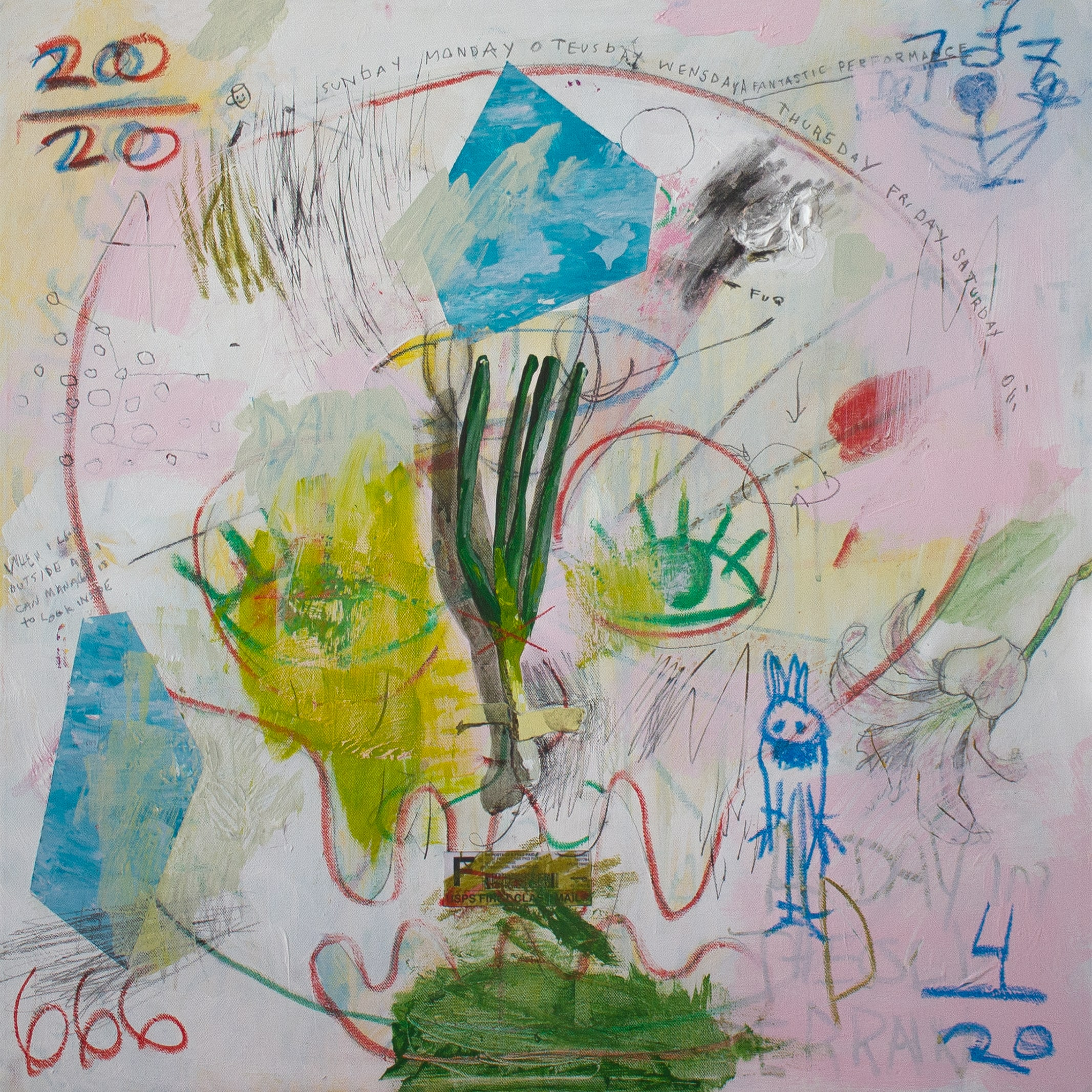 The All Seeing Lauchzwiebeln  Acrylic, graphite, oil pastel on canvas 73 x 73 cm