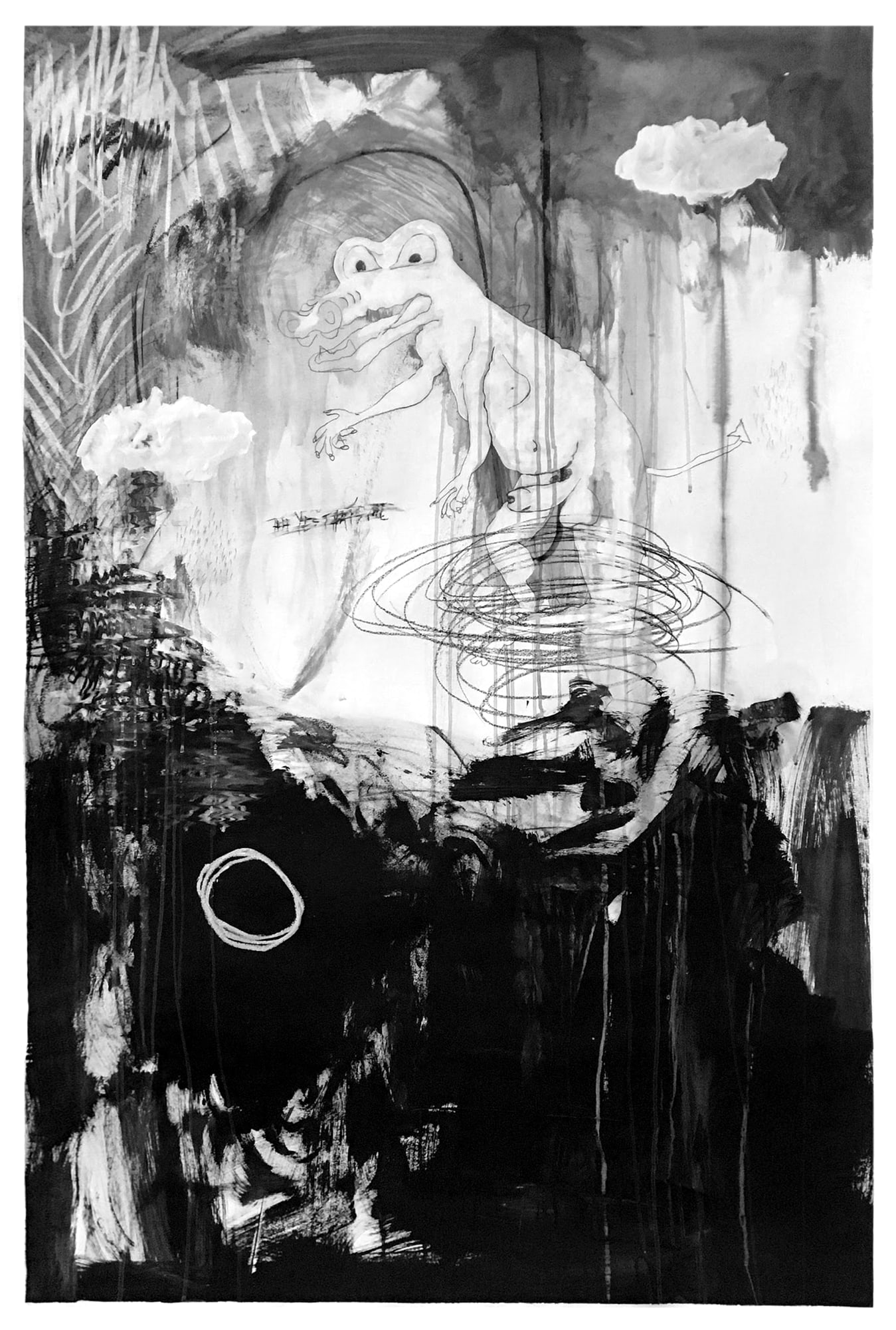 Me as an alligator  Charcoal, gesso on paper 100 x 150 cm
