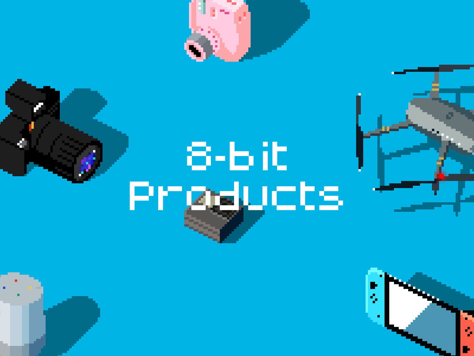 8-bit illustrations of popular tech products.