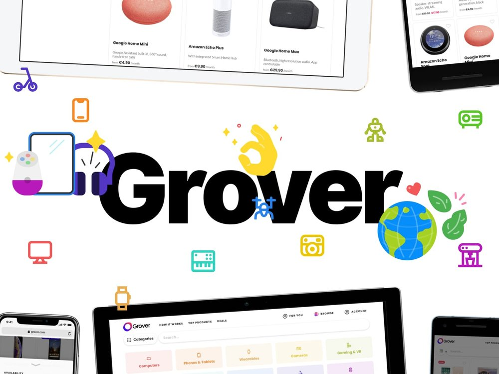 A progressive web app for Grover, a service that allows you to rent things instead of buy.