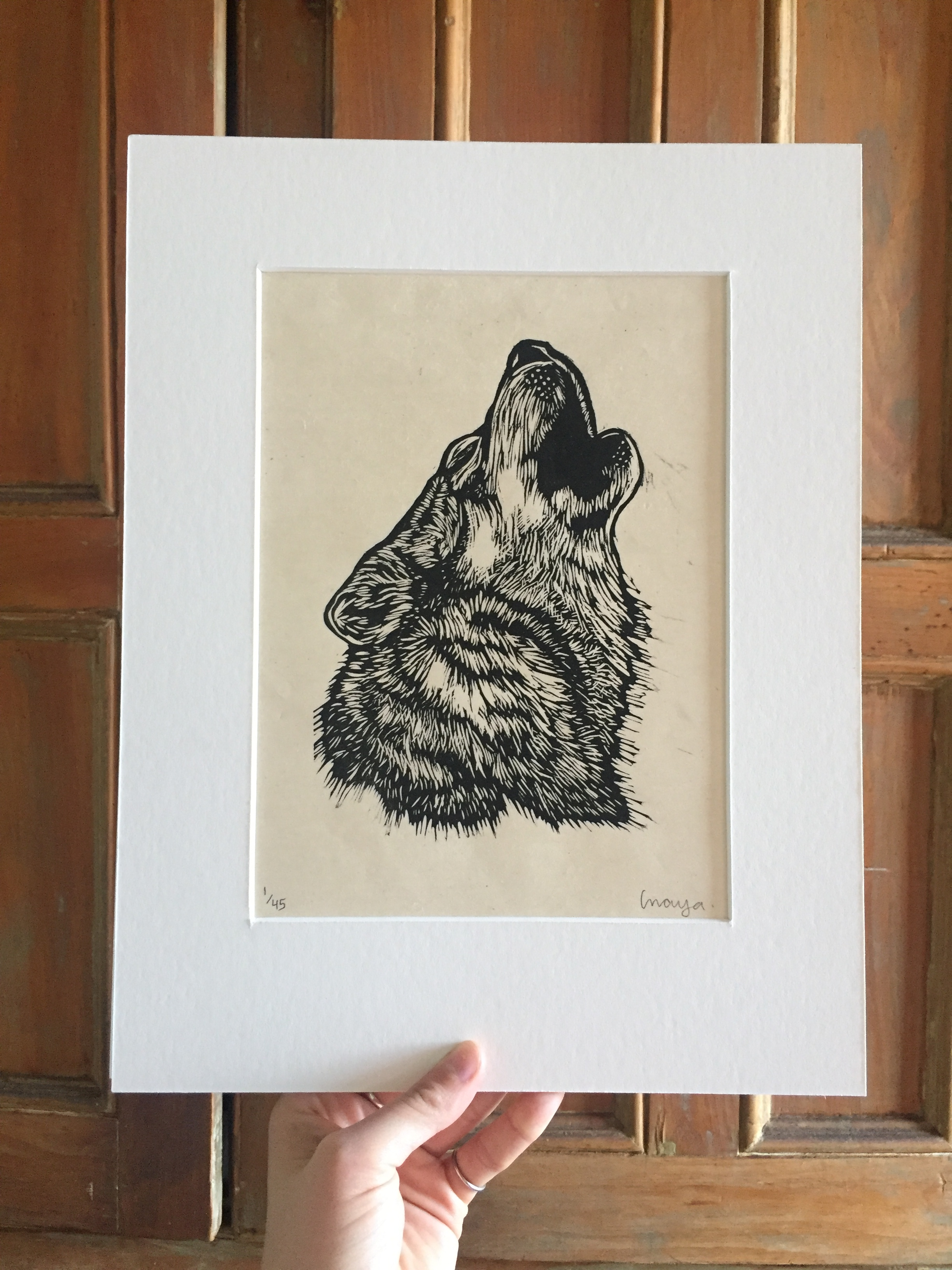 "HOWL .  Limited edition handmade print on Japanese paper. Matted size 11""x14"""